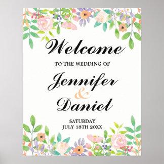 Réception florale pour aquarelle de mariage de poster