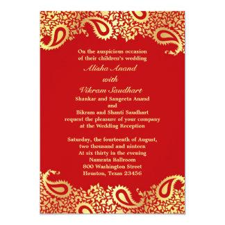 Réception Paisleys épousant la carte plate Carton D'invitation 12,7 Cm X 17,78 Cm