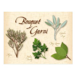Recette de bouquet d'herbe, baie, thym, sauge, carte postale
