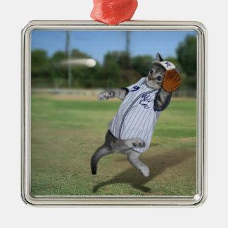 Receveur de chat dans les extra-champs ! ornement carré argenté