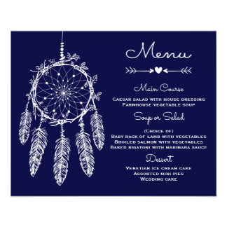 Receveur de rêve de bleu marine de menu de mariage prospectus 11,4 cm x 14,2 cm