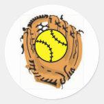 Receveur du base-ball sticker rond
