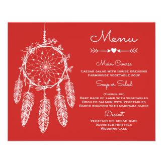 Receveur rêveur tribal rouge de menu de mariage de prospectus 11,4 cm x 14,2 cm