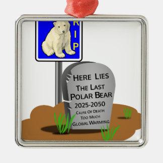 Réchauffement climatique, ours blanc 2050 de ornement carré argenté
