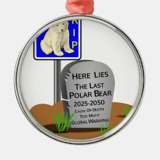 Réchauffement climatique, ours blanc 2050 de ornement rond argenté