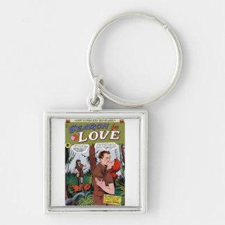 Recherche de porte - clé de l'amour #2 porte-clé carré argenté