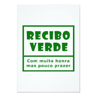 Recibos Verdes Carton D'invitation 12,7 Cm X 17,78 Cm
