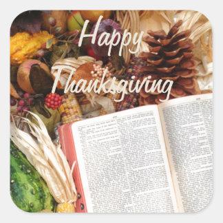Récolte et bible de thanksgiving sticker carré