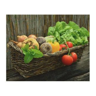 Récolte végétale de thanksgiving dans un panier impression sur bois