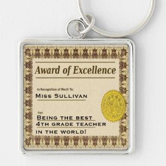 Récompense de professeur de porte - clé de porte-clé carré argenté