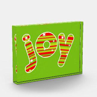 Récompense JOIE aux rayures de Noël, rouges et vertes