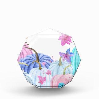 Récompenses En Acrylique Citrouille en pastel d'aquarelle et cadre floral