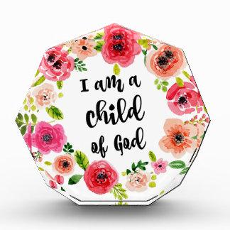 Récompenses En Acrylique Je suis un enfant de l'article floral de Dieu