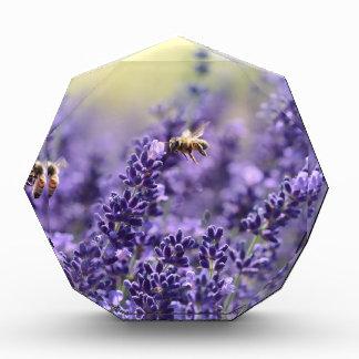 Récompenses En Acrylique Lavande de ressort avec floral pourpre d'abeilles