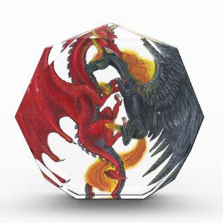Récompenses En Acrylique Licorne noire du feu et dragon rouge