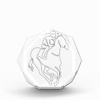 Récompenses En Acrylique Ligne continue de course de chevaux de jockey