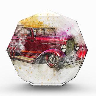 Récompenses En Acrylique Vieux cru d'aquarelle d'abrégé sur art de voiture