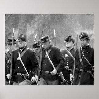 Reconstitution de guerre civile - soldats des poster