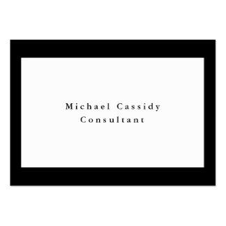 Rectangle blanc noir élégant simple simple carte de visite grand format