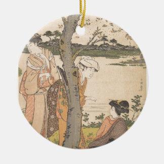 Recueillant des fleurs dans le jardin - Katsukawa Ornement Rond En Céramique