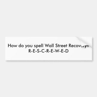 Récupération de Wall Street Autocollant Pour Voiture