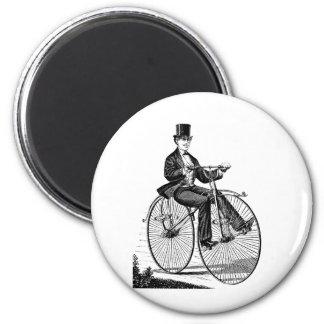 Recyclage victorien de bicyclette vintage de grand magnet rond 8 cm