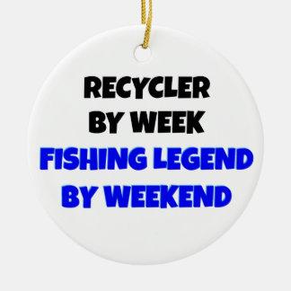 Recycleur de légende de pêche ornement rond en céramique