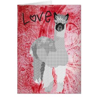 Red Alpaca Love  Valentine Greeting Card