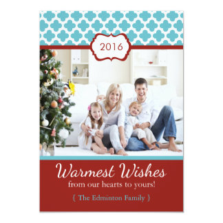 Red Blue Quatrefoil Christmas Flat Card Personalized Invitation