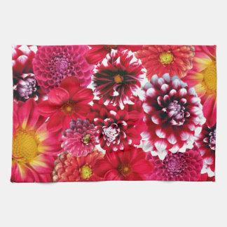 Red flowers serviettes pour les mains