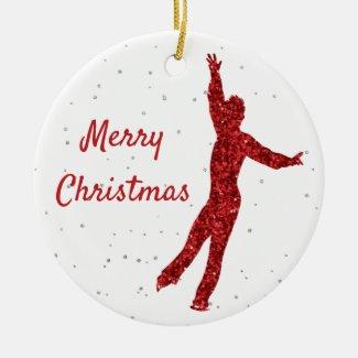 Red sparkle Figure skating ornament (man)