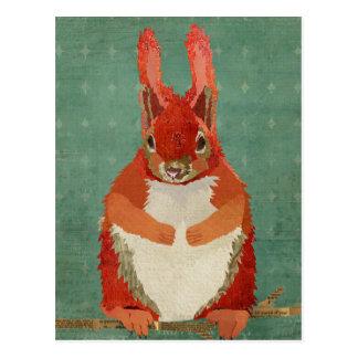 Red Squirrel Retro Postcard