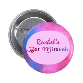 Redbud rose fleurit bat mitzvah personnalisé badge rond 5 cm