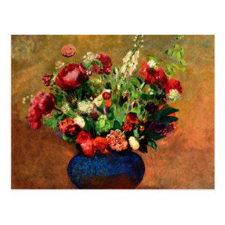 Redon - pavots et William doux dans un vase bleu Carte Postale