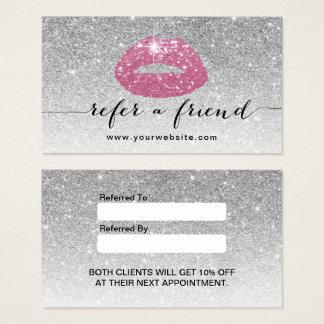 Référence rose de scintillement d'argent de lèvres cartes de visite