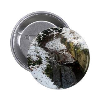 Réflexion de l eau de forêt d hiver badge avec épingle