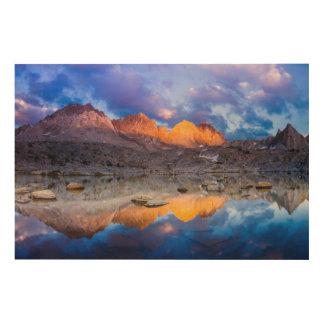 Réflexion de montagne, la Californie Impression Sur Bois