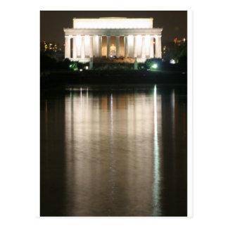 Réflexion de nuit du Lincoln Memorial Carte Postale