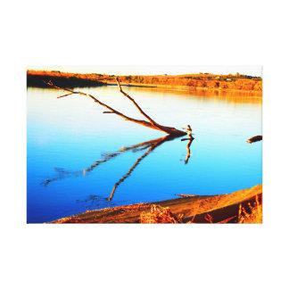 Réflexion de rondin dans l'eau sur la toile