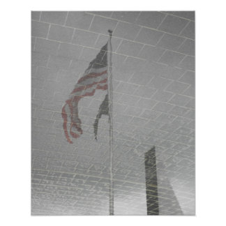 Réflexion d'un drapeau poster