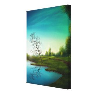 Réflexion surréaliste de lac - toile d'art numériq toile tendue sur châssis