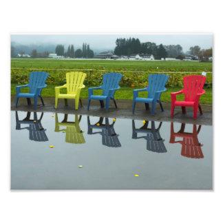 Réflexions de chaise d'Adirondak Impression Photo