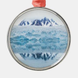 Réflexions de glacier, Norvège Ornement Rond Argenté