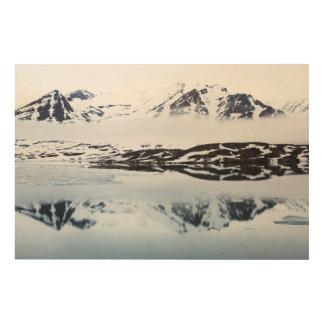 Réflexions de montagne, Norvège Impression Sur Bois