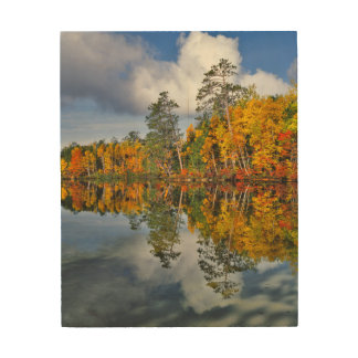 Réflexions d'étang d'automne, Maine Impression Sur Bois