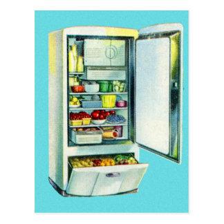 Réfrigérateur vintage de réfrigérateur de kitsch carte postale