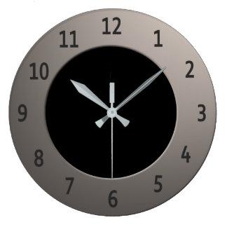 Refroidissez tous les chiffres de noir de couleur grande horloge ronde