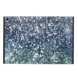 Regard bleu turquoise argenté de parties étui iPad air