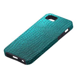 Regard bleu-vert de motif de cuir de peau de serpe coque iPhone 5 Case-Mate