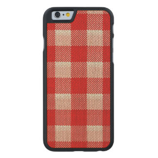 Regard Checkered de toile de jute de motif de Coque Carved® Slim iPhone 6 En Érable